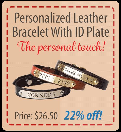 Personalized Leather Bracelet w/ ID Plate