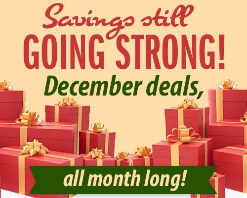 Savings still going strong! December deals all month long!